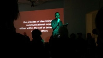 View of the lecture performance 'Standing on the Shoulders of Giants' at ACADEMYSPACE Köln 2015